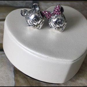 925 sterling silver Minnie/Mickey Clips Set